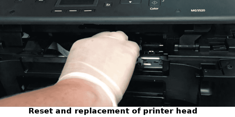 Reset and replacement of printer head