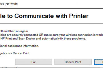 Unable To Communicate With The Printer At This Time
