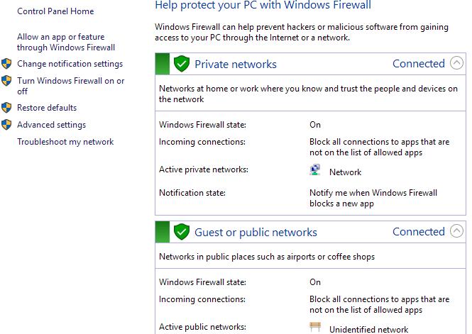 firewall setting for printer